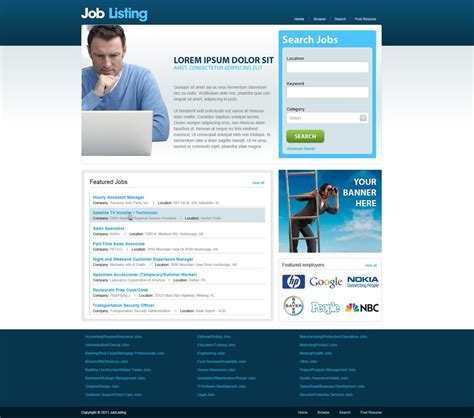 html themes for job portal free job portal template job website templates phpjabbers