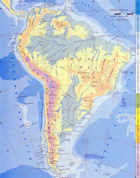 mapa topografico america sur mapa f 237 sico de am 233 rica sur mapa owje
