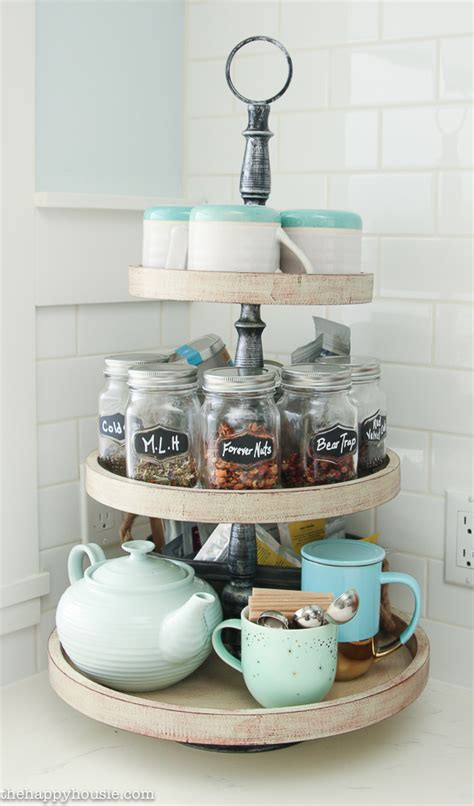 Cute Bathroom Storage Ideas by Our Kitchen Tea Station And Tiered Trays For Kitchen