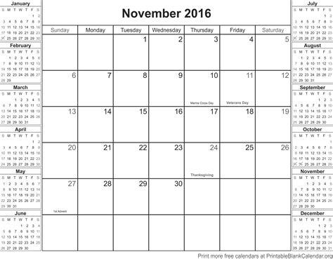Calendã Novembro 2016 November 2016 Calendar With Holidays Printable Blank