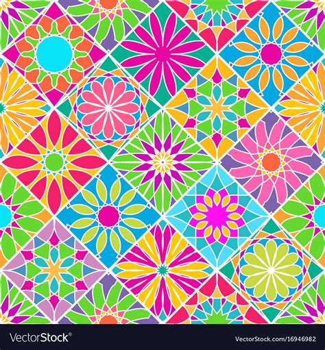 colorful tile seamless pattern with decorative colorful tiles vector image