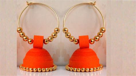 Paper Jhumka - how to make paper earrings jhumka paper quilling tutorial