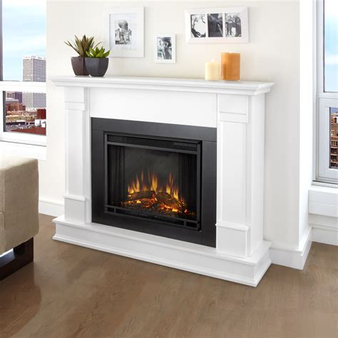 fireplaces with shop real 48 in w 4780 btu white wood led electric fireplace with thermostat and remote