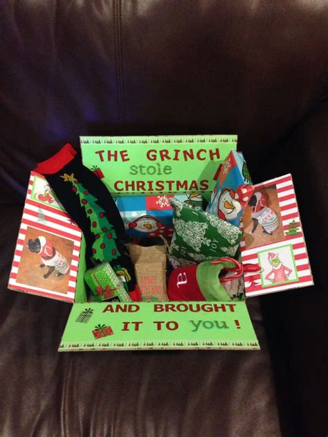 the grinch christmas care package that i made for austin
