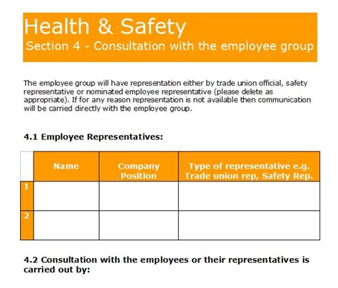 health and safety forms templates gas forms health and safety policy template