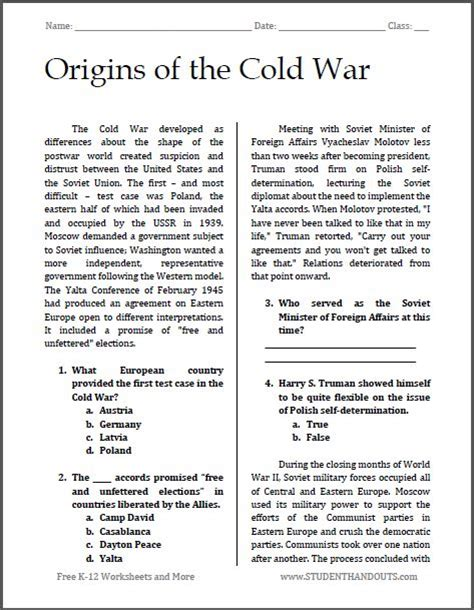 A Global Conflict Worksheet Answers by Origins Of The Cold War Free Printable Reading With