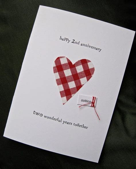 2nd Wedding Anniversary Keepsake Card Cotton by