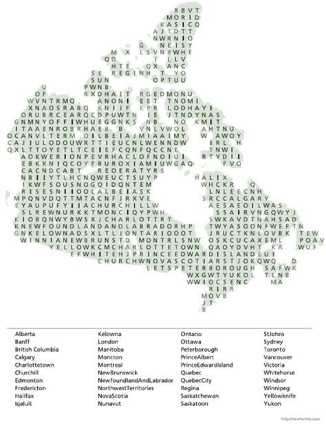 Search Canadian Word Search Canada Map