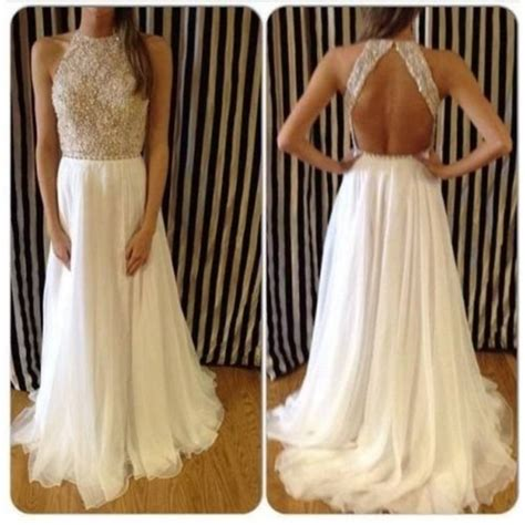 white and gold open back prom dress 2016 2017 b2b fashion charming backless crew neck prom dresses 2016 chiffon sleeveless evening gowns with