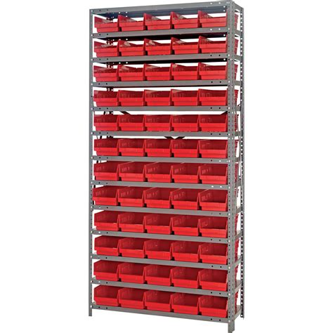 Shelf With Bins quantum storage single side metal shelving unit with 60 bins 12in x 36in x 75in rack size