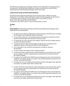 sle hr manager job description 9 exles in pdf
