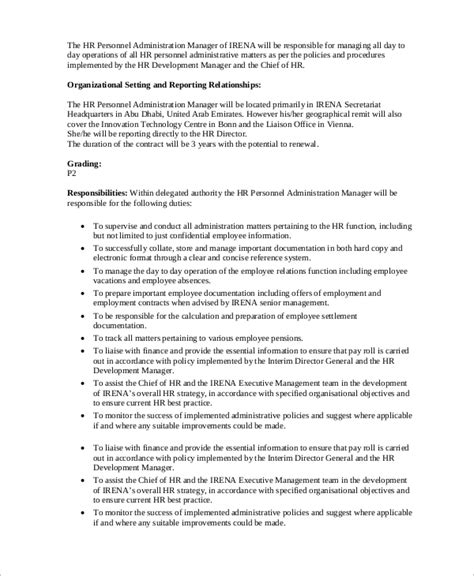 Hr Manager Resume Sle Pdf by Personnel Management Description 28 Images