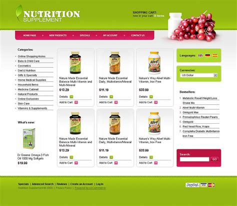 Nutrition Store Oscommerce Template Web Design Templates Website Templates Download Nutrition Website Templates