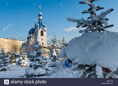 St Snow russian orthodox church in st petersburg city white