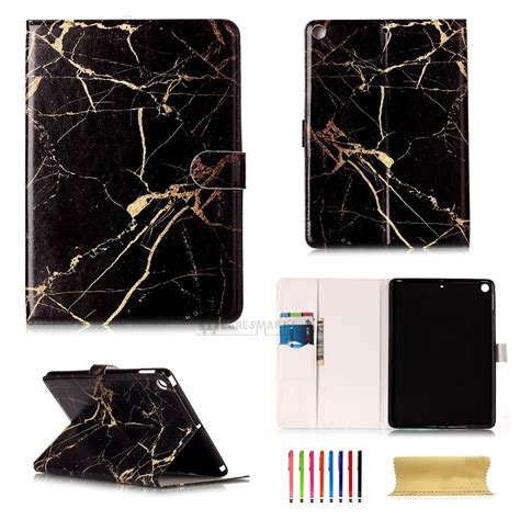 Flip Cover Leather Crown Wallet Standing Cover 4 5 6 smart marble grain pattern flip leather stand cover for air 2 mini 3 4
