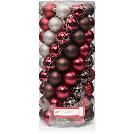 holiday time christmas ornaments shatterproof set of 101 time 60mm brown shatterproof ornaments set of 101 walmart