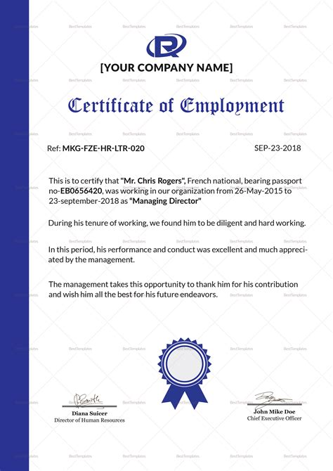template of certificate of employment work certificate template