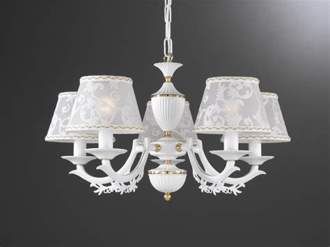 Chandeliers With L Shades 5 Lights Matt Iron White Brass Chandelier With L Shades Reccagni Store