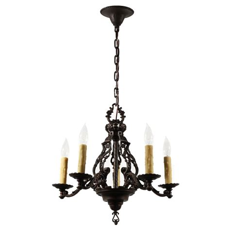 iron chandelier magnificent antique figural five light chandelier cast iron early 1900s nc1513 for sale