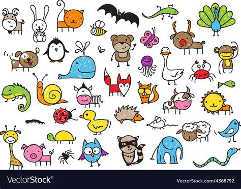doodle animals vector free drawing animal doodles royalty free vector image