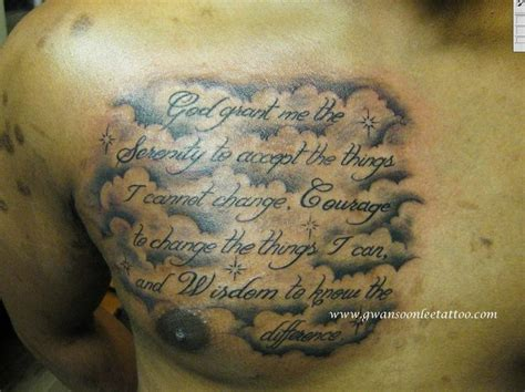 cursive letterings with clouds backgound chest piece