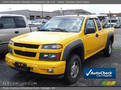yellow 2004 chevrolet colorado ls extended cab 4x4