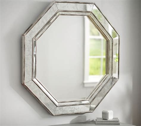 octagon bathroom mirror octagon wall mirror pottery barn