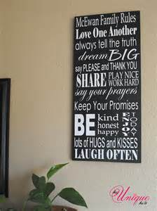 Home Decor Wooden Signs Sayings personalized family rules sign 10x23