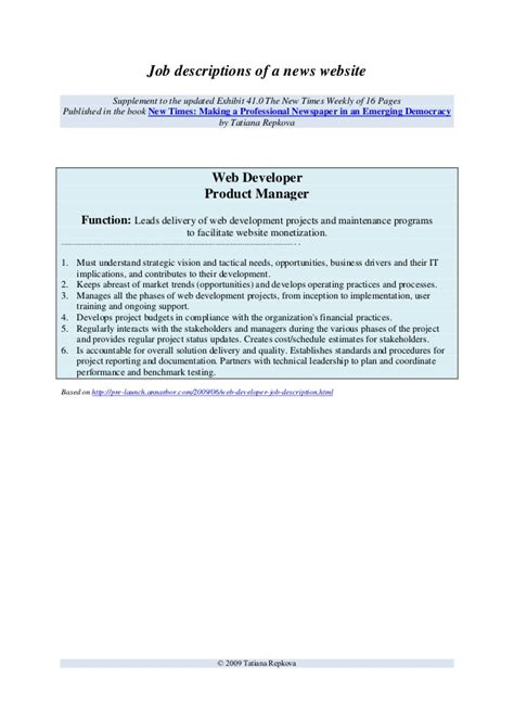 Database Developer Description by Sle Description Web Developer Product Manager