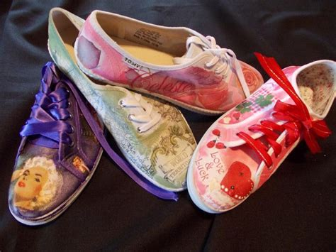 decoupage shoes with fabric decoupage tekkies diy projects decoupage