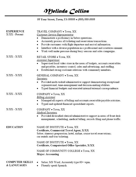 Travel Resume Objective Exles Resume Sle For Travel