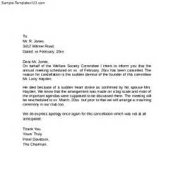 Cancellation Letter Writing Event Cancellation Letter Sle Templates