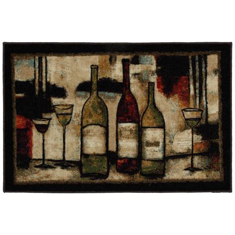 Wine Kitchen Rugs Mohawk Home Wine And Glasses 2 Ft 6 In X 3 Ft 10 In Kitchen Rug 322878 The Home Depot