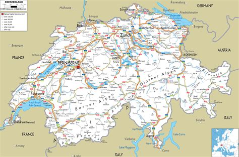 printable road map of europe detailed clear large road map of switzerland ezilon maps