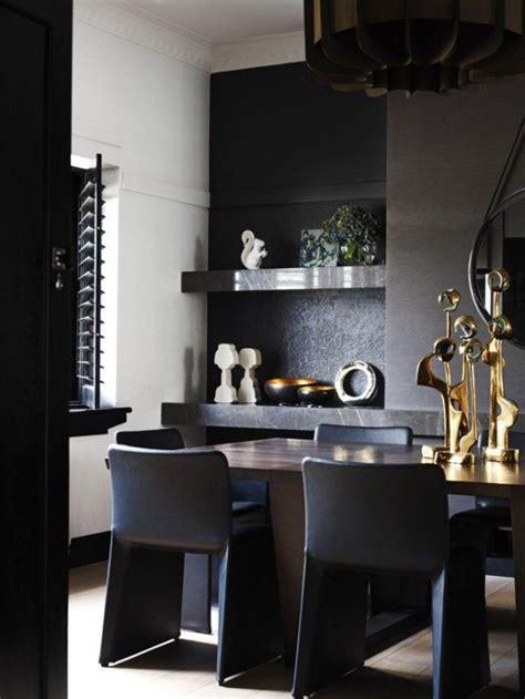 impressive black interior design  gold  orange