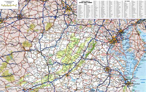 road map of virginia large detailed roads and highways map of virginia and west virginia with national parks and