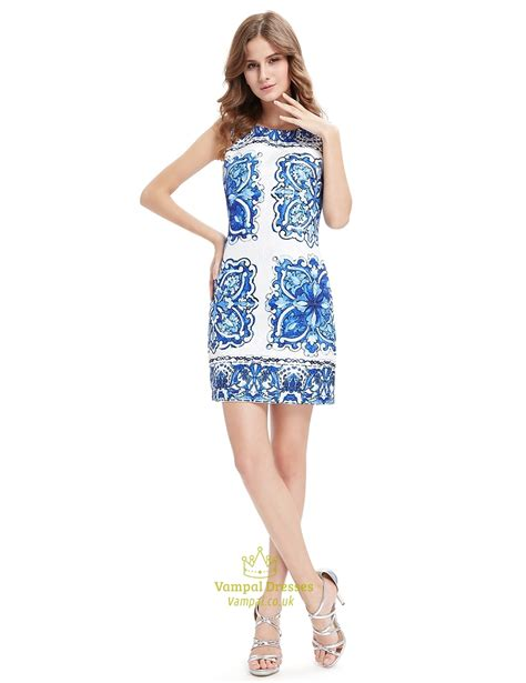 Verinda Flowery Bodycon Mini Dress white bodycon mini summer dress with blue floral