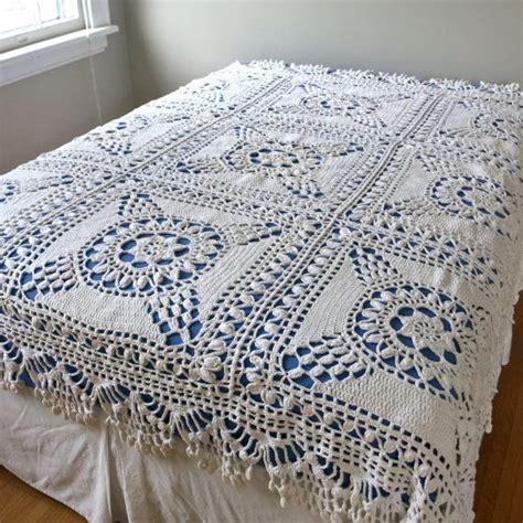 vintage crocheted bedspread of