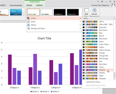 applying themes in excel 2013 applying theme colors and theme fonts in powerpoint 2013