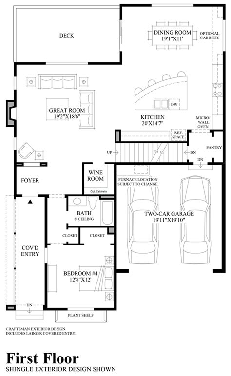 first floor plan pipers glen the ballard with basement home design