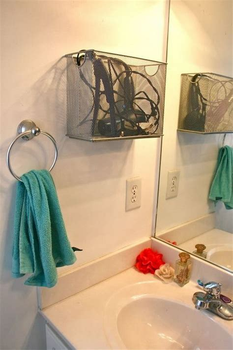 Storage For Hairdryer And Straightener creative hair dryer and curling iron storage ideas
