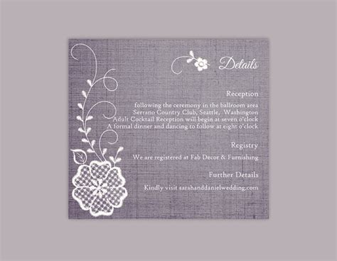 florist enclosure card template diy lace wedding details card template editable word file