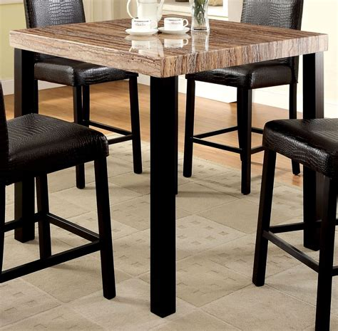 marble top bar height table rockham ii black faux marble top square counter height leg