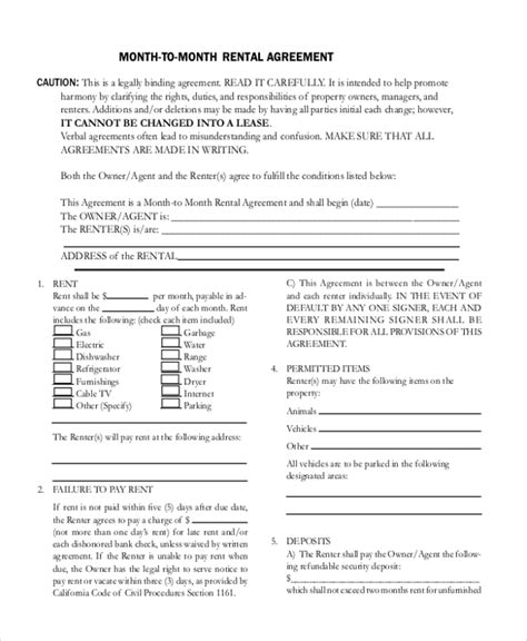 month to month room rental agreement sle room rental agreement form 10 free documents in doc pdf