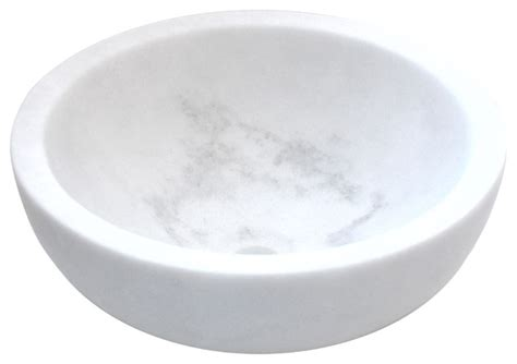 White Bathroom Bowl Sinks Small Vessel Sink Bowl Honed White Marble Contemporary