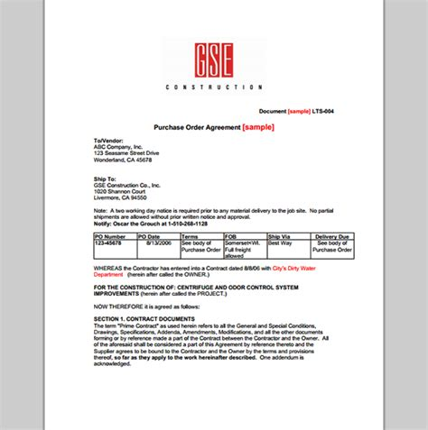 purchase order agreement template image gallery order agreement