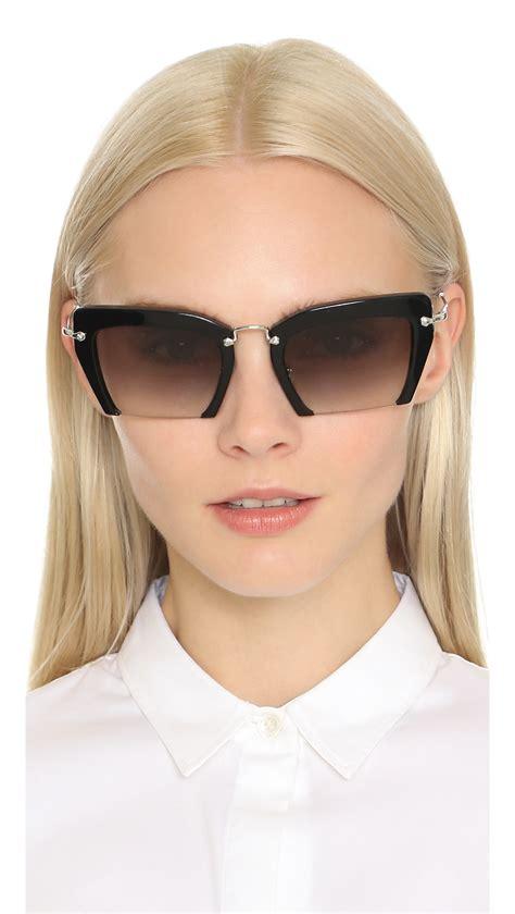 Sunglass Miu Miu Mds958 2 miu miu cut frame sunglasses black grey gradient in