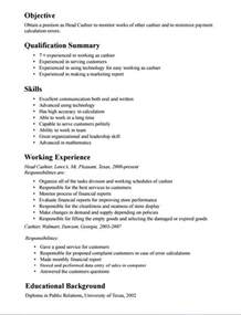 Resume Description Of A Cashier Cashiers Description For Resume Best Resume Exle