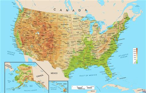 united states geographical map large political physical geographical map of united