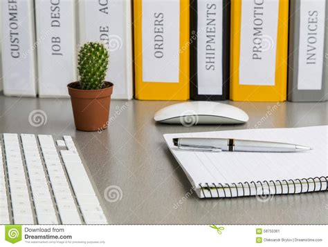 desk cactus office work space on grey desk with cactus and stock photo
